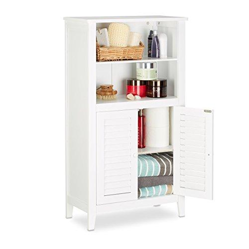 *Relaxdays Badezimmerschrank weiß LAMELL, Badschrank aus Bambus, Telefonschrank, HBT: 92 x 50 x 25,5 cm*