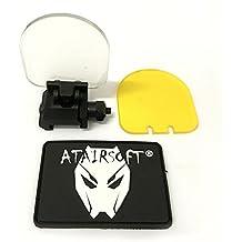 Protector de pantalla para lente réflex, plegable, táctica, cubierta del visor del punto rojo de la mira, 20mm, montura QD, con 2lentes de repuesto (negro) para airsoft, caza, disparar