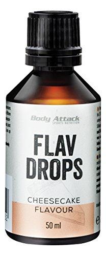 Body Attack Flavdrops zuckerfreie kalorienfreie Aromatropfen Vegan ohne Aspartam (Cheesecake, 50ml)