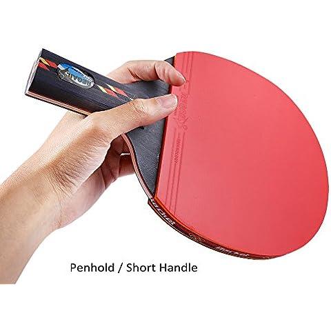 sixmad (TM) 1pc Durable regail tenis de mesa Paddle 2-Side Espinillas 7capas madera + fibra de carbono completa de Ping Pong raqueta + bola + bolsa superior pegamento, tamaño Red gorizontal grip