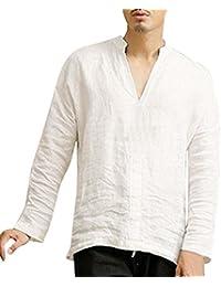 a0774b3fd ALIKEEY Camisas Lino Tradicionales para Hombres Manga Corta con Cuello  Casual Blusa Suelta Camisetas Sueltas Cool