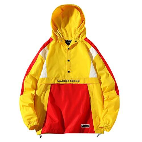 TWISFER Herren Kapuzenjacke Männer Windbreaker Oversize Übergangsjacke Herrenjacke Color Block Outdoor Pull-Over Jacket Leichtgewicht Streetwear -
