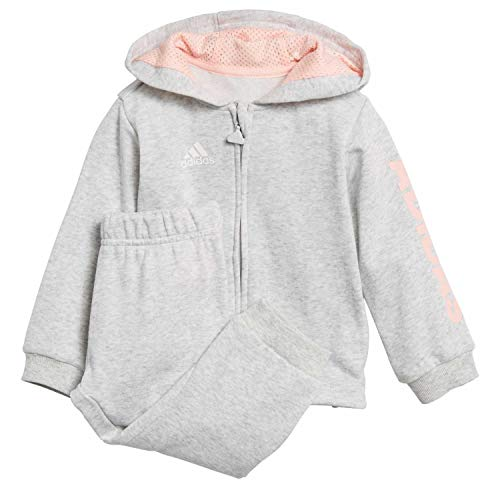 adidas Baby Linear Full Zip Hooded French Terry Trainingsanzug, Light Grey Heather/Haze Coral/White, 104