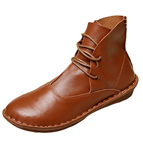MatchLife Damen Leder Booties Schuhe Flach Style3 Braun Gelb EU40/CH41 (Schuhe Mode-designer-flache)