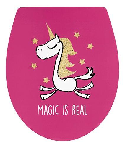 - WC-Sitz Real Magic Dekor Einhorn-Motiv in pink - Hochwertiger Toilettensitz aus Duroplast - WC Brille mit Absenkautomatik & Fast-Fix Schnellbefestigung ()