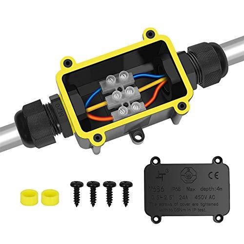Boîte de Jonction de Plein Air IP68 Imperméable Connecteur de Câble électrique Boîtier de Raccordement 2 Voies Connecteurs Boîte pour Câble Ø 4 à 14mm