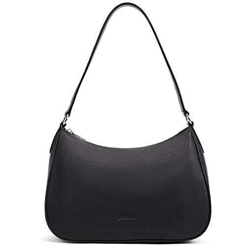BOSTANTEN Damen Leder Schultertasche Handtaschen Umhängetasche Designer Hobo Taschen Schwarz -