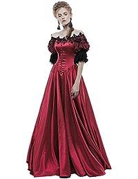 4bc12e2f6 Punk Rave Gothic Wedding Dress Long Red Steampunk VTG Victorian Prom  Ballgown
