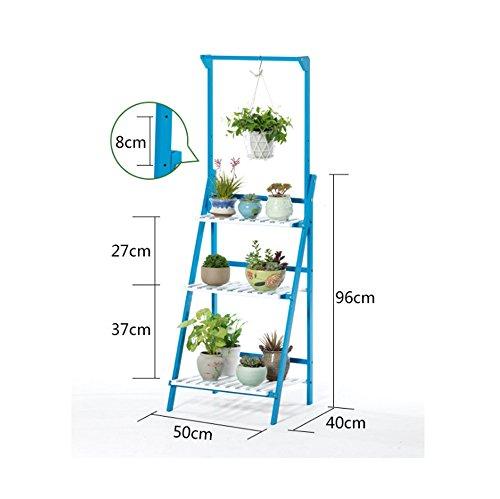 ZYP Support de fleurs Salon Suspendu Fleur étagère à Plusieurs étages Fleur étagère parquet Massif Fleur étagère Balcon Panier Fleur Pot Rack/Simple (Color : Bleu, Taille : 50 * 40 * 140cm)