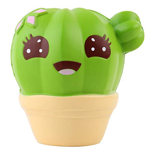 pittospwer Karikatur Kaktus Blumentopf langsames steigendes weiches zusammendrückendes Druck Entlastungs Kindspielzeug Geschenk Yellow