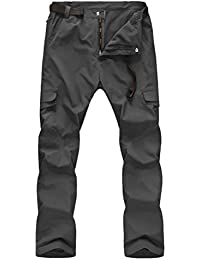 Zhuhaitf Hombre impermeable Resistente al Viento Softshell Fleece Transpirable Pantalones Térmicos Multi-pockets Walking Hiking Climbing Pants Trousers Side-Elastic Cargo Pants