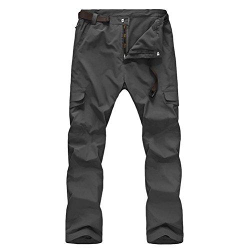 Zhhlaixing Herren SoftShell Wasserdicht Fleece Hosen Thick Wear-resisting Waterproof Windproof Trousers Snow Pants Sportswear with 6 Pockets (Pant Fleece-6-pocket)