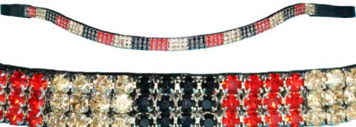 HKM 44008390 Stirnband -Crystal Flag, L, schwarz/rot/Gold