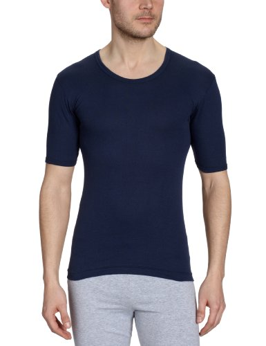 Huber Herren Unterhemd de Luxe Shirt Kurzarm Blau (MARINE 0386)