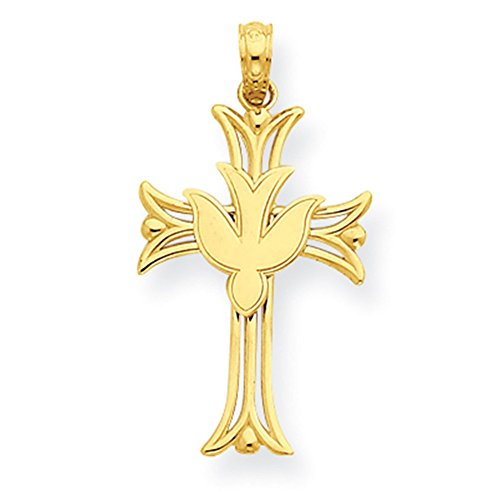 14K Gelb Gold Taube auf Kreuz Anhänger C4311