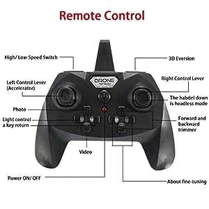 EACHINE E33C Drone con Telecamera HD RC Quadcopter 2MP 2.4G 6-Axis Headless Mode One-Key Return 3D Capovolte Luce a LED modalità 2(Nero)