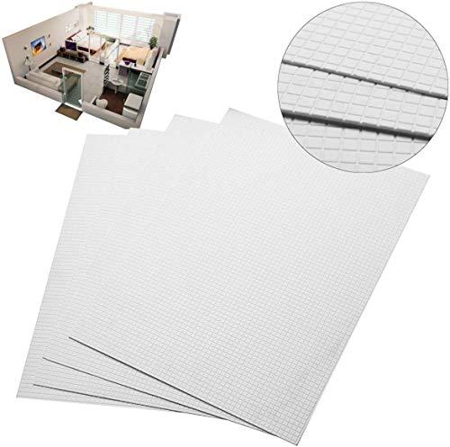 Terrarum 4 Stück ABS Styrol Kunststoff Bodenwand Mauerplatten 215 mm x 300 mm weiß Dekorations-Set