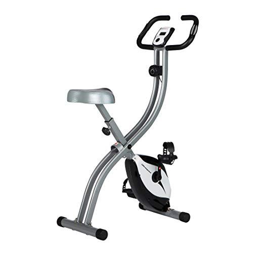 Ultrasport Heimtrainer F-Bike 150 mit Handpuls-Sensoren, Fitnessfahrrad mit Trainingscomputer und Handpulssensoren, klappbar, silber/schwarz