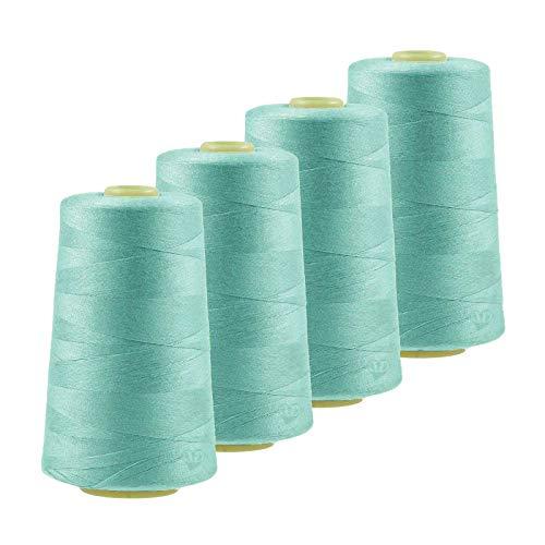 maDDma 4 x 4572m Overlockgarn Nähgarn Polyester Overlock Garn, wähle aus 400 Farben, Farbe:A829 zartes wasserblau