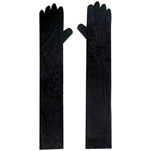 Samt Handschuhe SCHWARZ extra lang 52cm Handschuh für Kostüme o. (Handschuhe Lange Samt)