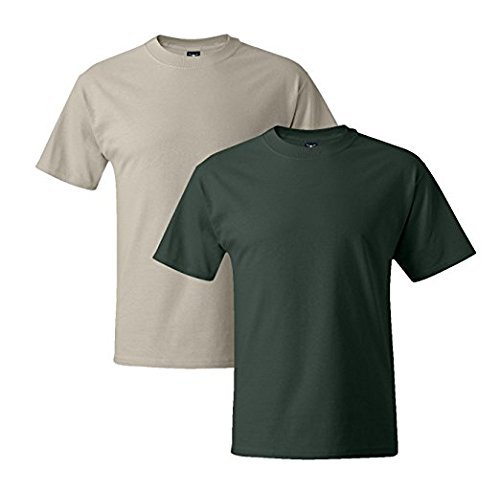 Hanes Mens 5180 Short Sleeve Beefy T, 1 Deep Forest/1 White 1 Deep Forest / 1 Sand