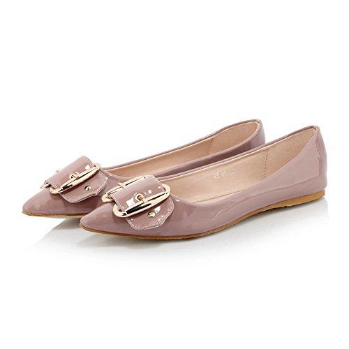 AllhqFashion Damen Niedriger Absatz Lackleder Rein Ziehen Auf Spitz Zehe Flache Schuhe Pink