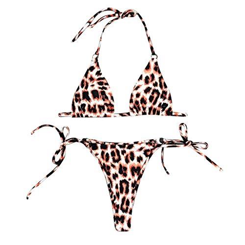 Bfmyxgs Set Mode Monokini für Frauen Lady Sexy Leoparden Print Push-Up gepolsterten BH Riemchen Bandage Bikini Badeanzug Tankini Sets Bodys Monokini Bikini Badeanzug Bademode Bademode Baden