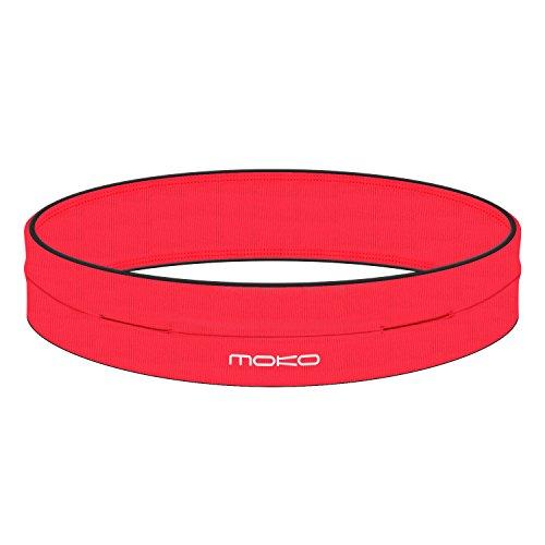 """MoKo Sport Waist packs - Marsupio Sportivo Running con 4 Tasche per iPhone 7 / 7 plus / 6 / 6s plus, Galaxy S7 / S7 Edge, Compatibile con i cellulari fino a 6"""""""", ROSSO (XL Adatto 36""""-39"""" girovita)"""