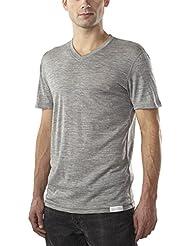 Woolly Clothing Co - Manga corta cuello pico ultraligero lana merino para hombres (150 GSM)