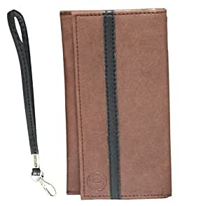 Jo Jo A5 Nillofer Leather Wallet Universal Pouch Cover Case For LG OPTIMUS L4 II E440 Light Brown Black