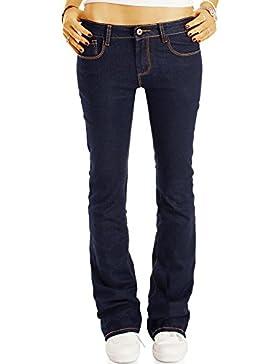 Bestyledberlin Damen Boot-Cut Jeans, Ausgestellte Slim Fit Jeans, Hüftige Schlaghose j21l
