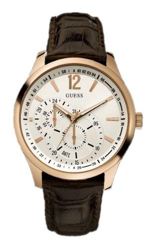 Guess - W95086G2 - Vessel - Montre Mixte - Quartz Analogique - Cadran Doré - Bracelet Cuir Marron