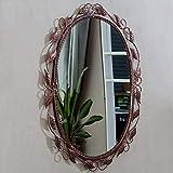 Miroir européen de Salle de Bains Miroir en Fer forgé Dentelle Chambre beauté Miroir Ovale fixé au Mur (3 Couleurs, Taille: 45X60CM)...