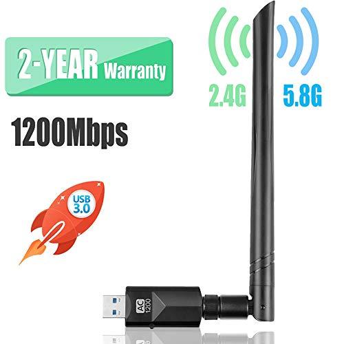YIYOU WiFi Antena USB WiFi Adaptador1200Mbps Dual Band (2.4G 300Mbps / 5.8 G 867Mbps) WiFi Dongle5dBi Mini Receptor para PC/Desktop/Laptop/Mac Soporte Windows XP/Vista/7/8/10 Mac OSX(10.6-10.14)
