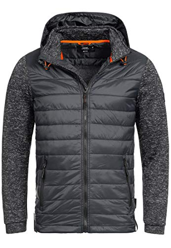 Indicode Herren Marylebone Winterjacke Steppjacke Jacke mit Kapuze Charcoal L