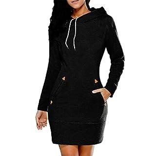 Bmeigo Damen Kapuzenpullover Kleid Sweatshirt Pullover mit Taschen Langarm Slim Fit Plus Size XL-6XL