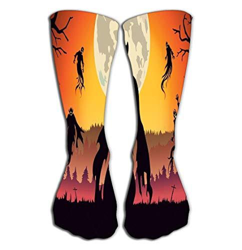 No Soy Como Tu Hohe Socken Outdoor Sports Men Women High Socks Stocking Silhouette Evil Spirit Flying Forest Full Moon Night Halloween Theme Fantasy Tile Length 19.7