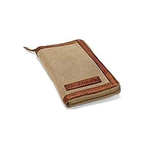 DRAKENSBERG Kimberley Travel Wallet, portafoglio da viaggi, portamonete da viaggi, tela, canvas, pelle, vintage, lussuosamente, beige, marrone