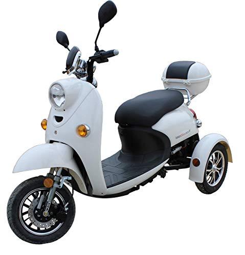 Stylisches Retro Vespa Dreirad Scooter Seniorenmobil Elektrofahrzeug Elektro Scooter ECO Roller 3 Rad Alarm 25km/h Weiß