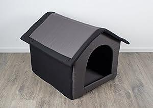 Niche en tissu/Abri pour chien, gris - L. 60 x l. 56 x H. 60 cm