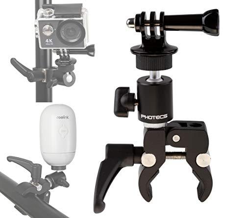 """Photecs® Universal-Halterung, Stativ-Klemme, Klemm-Halter mit 1/4\""""-Anschluss, für Dashcam, Überwachungskamera (z.B. Arlo, Reolink etc.), IP-Kamera, WLAN-Cam, Leuchten etc. (ohne Tischsockel)"""