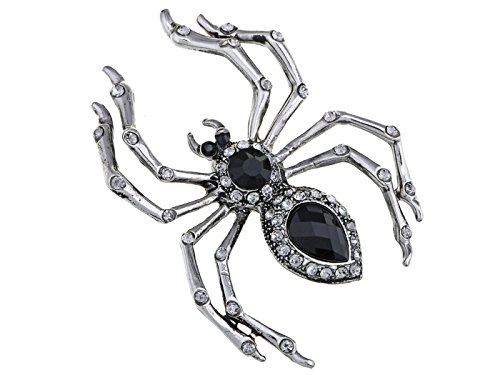 Alilang Pirate Gun Metal-Ton-Kristall Strass Schwarz Jeweled Spinnen-Insekt-Brosche (Halloween-kostüme Bug Fashion)