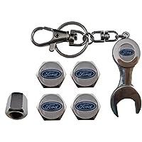Valvulas de acero inoxidable para coche + llavero apreta tuercas Ford aut011-38