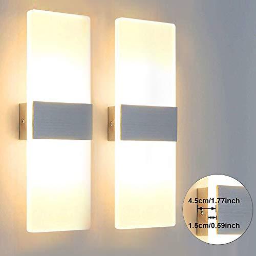 Glighone Apliques de Pared LED Lámpara de Pared Moderna Luz de Aluminio Luz en Moda Interior para Decoración...