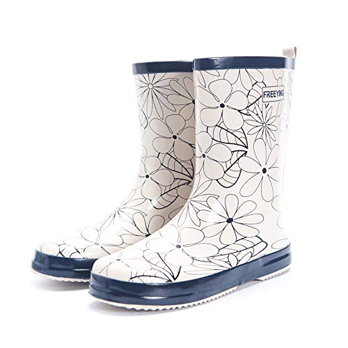 UniEco Waterproof Slip-on Women Rain Boots Easy On&Off Half-Height Wellies for Women Rubber Boots