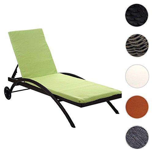 Mendler Sonnenliege Kastoria, Relaxliege Gartenliege, Poly-Rattan ~ Anthrazit, Auflage grün