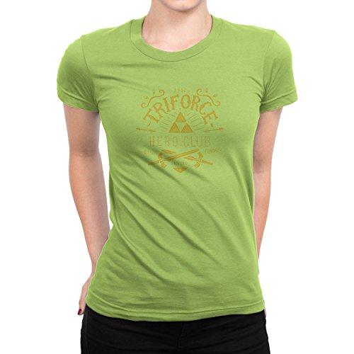 Planet Nerd - Triforce Hero Club - Damen T-Shirt, Größe M, Kiwi (Wii Fit U Kostüm)