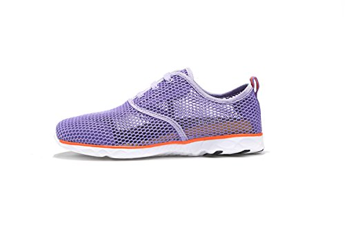 ALSYIQI Men Women Breathable Mesh Quick-drying Water Shoes Sport Sneaker Women Purple
