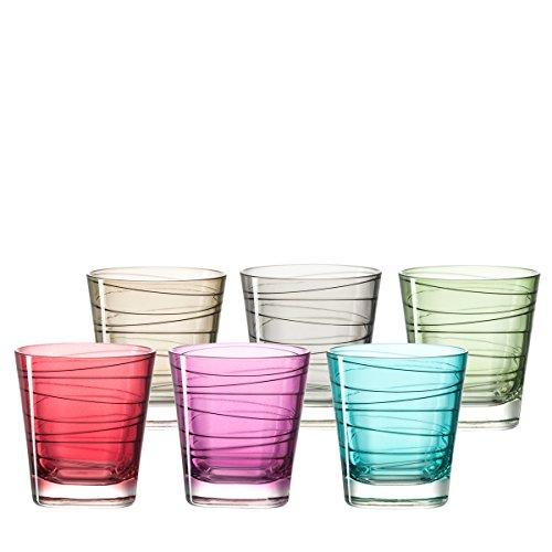 Leonardo 047286 Vario Set 6 Becher klein farbig sortiert, Glas, mehrfarbig, 8.30 x 8.30 x 9 cm, 6 Einheiten