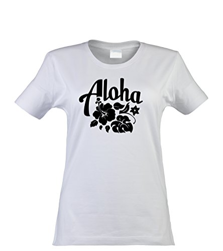 klamottenkiste24 Damen T-Shirt, Aloha Hawaii, weiß, Gr. XL (Halloween Hawaii-shirt)